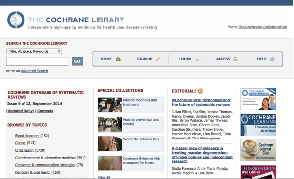 cochrane library home page