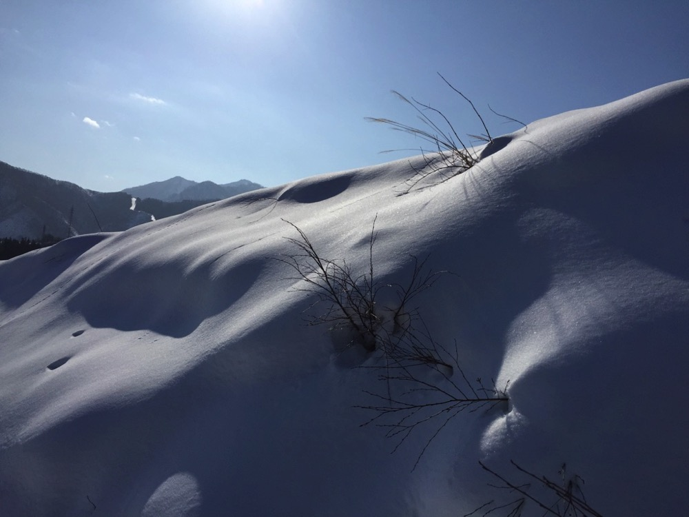 snow mountain and sun
